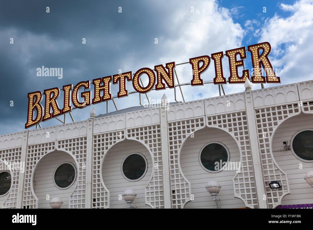 Zeichen der Pier von Brighton, Brighton, UK Stockbild
