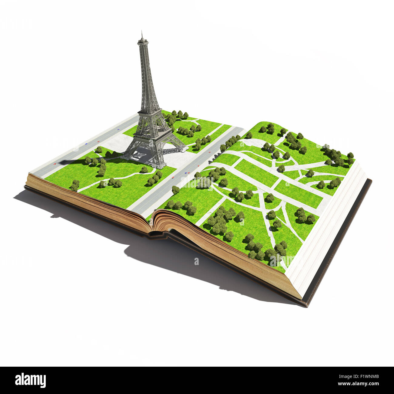 Paris in der dem offenen Buch. 3D-Konzept Stockbild