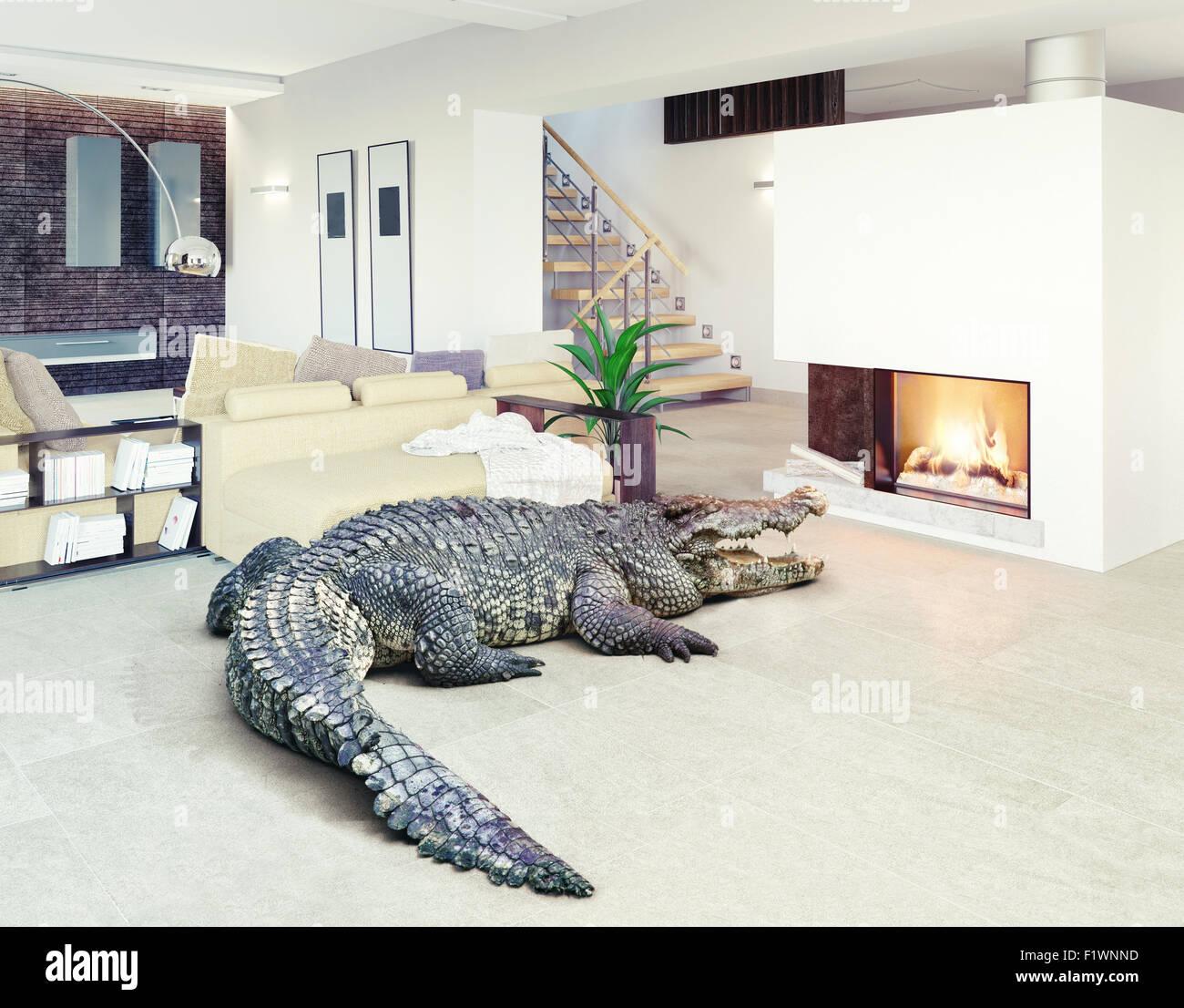 Großes Krokodil entspannen Sie sich im luxuriösen Innenraum (Kombination von Foto und cg Elemente) Stockbild