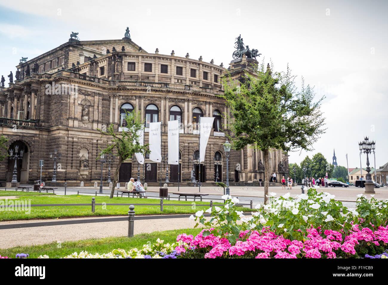 Semperoper-Oper am Theaterplatz Square historischer Stadtkern der Altstadt Dresden, Sachsen, Deutschland, Europa Stockbild