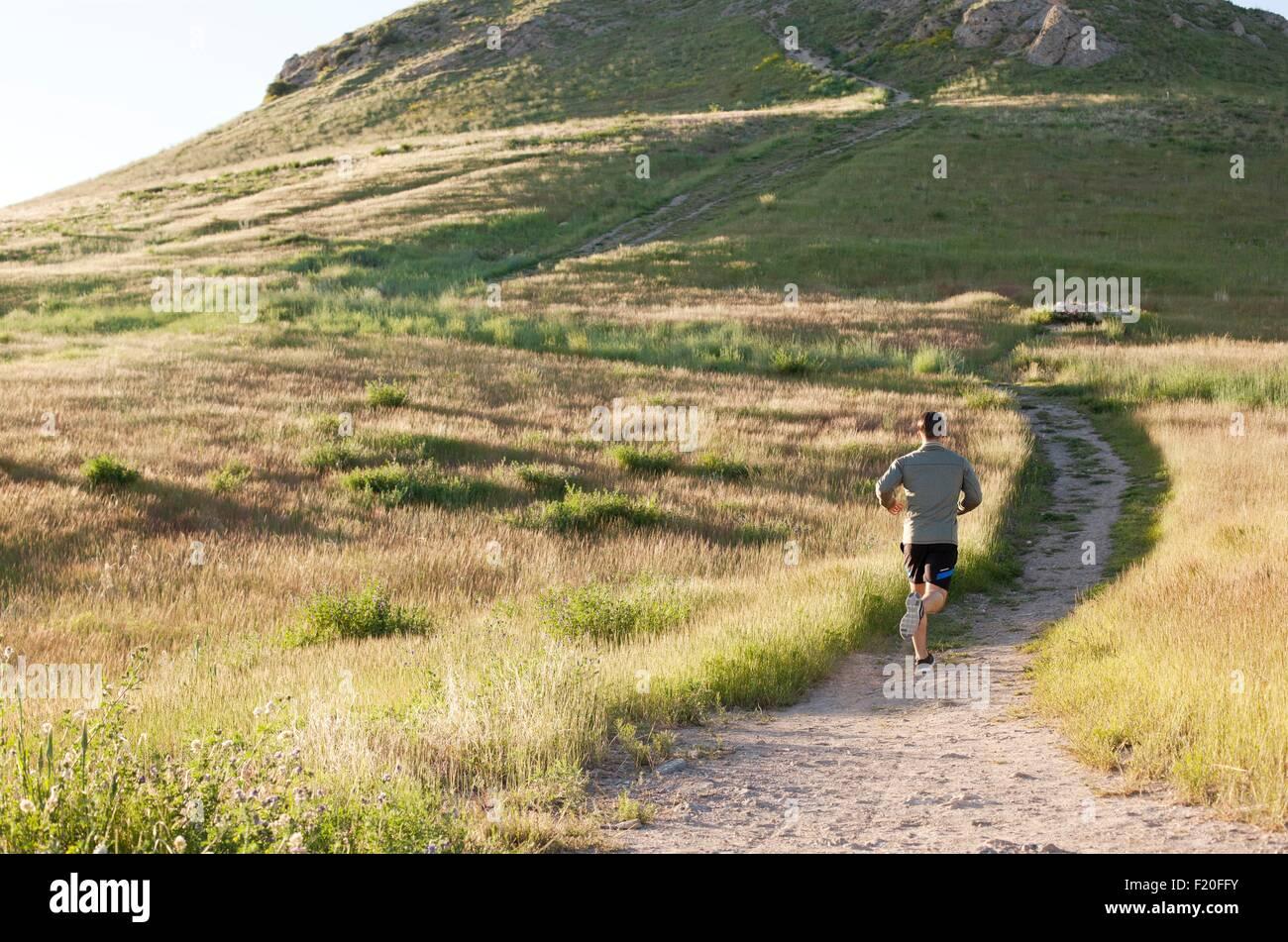 Rückansicht des jungen männlichen Läufer läuft bis Hang track Stockbild