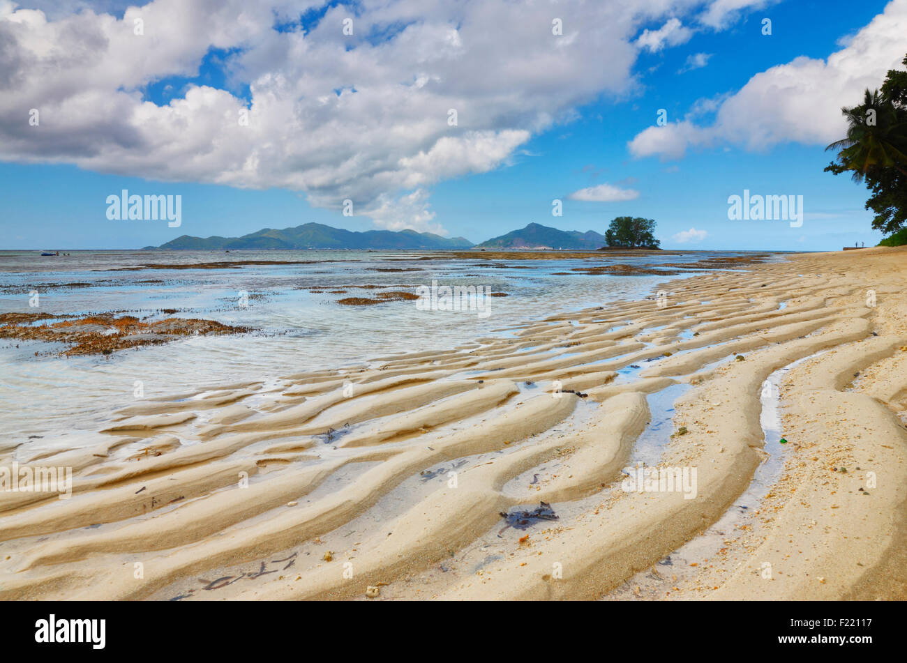 Düne am Strand, Insel La Digue, Seychellen. Stockbild