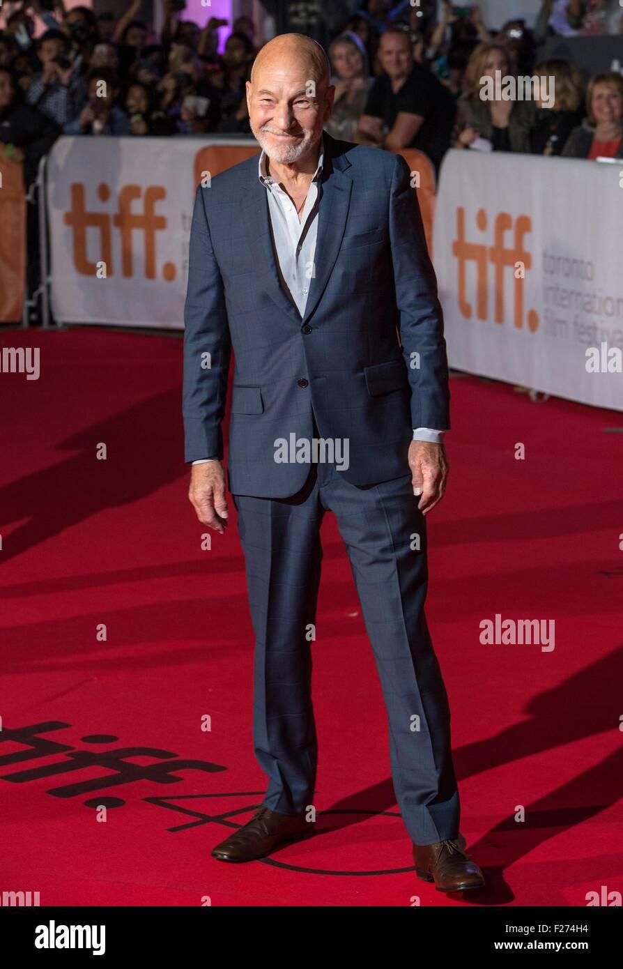 Schauspieler Patrick Stewart besucht die Weltpremiere für The Martian auf dem Toronto International Film Festival Stockbild