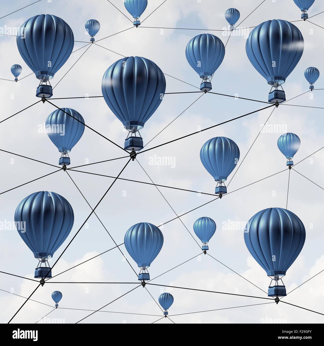 Netzwerkverbindungen Verbindung Erfolg Konzept und Gemeinschaft soziale Medien als eine Gruppe von blauen Heißluftballons Stockbild
