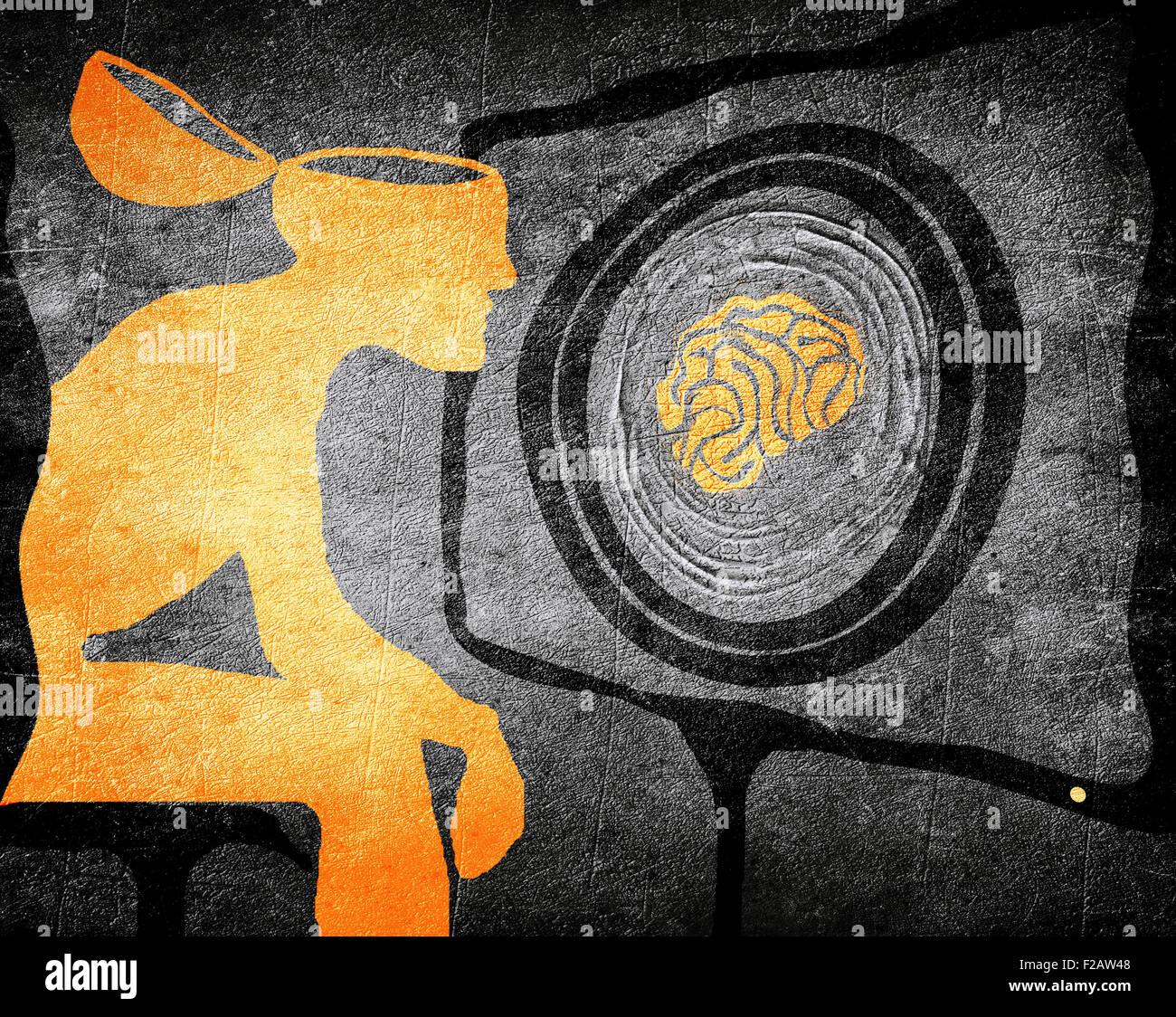Der Mensch auf der Suche Fernseher Waschmaschine Gehirn Abbildung: Konzept Stockbild