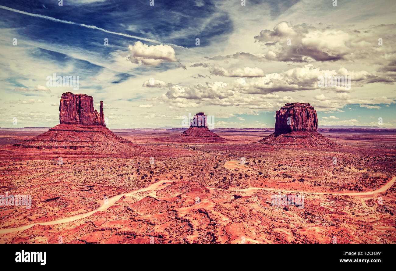 Retro-alten Stil Foto von Monument Valley Navajo Tribal Park, Utah, USA. Stockbild
