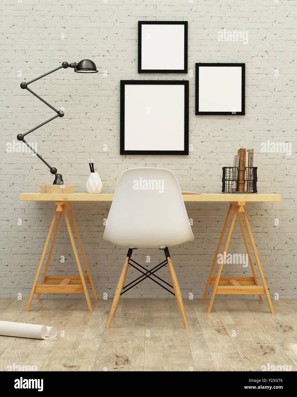 Arbeiten Raum Innenarchitektur 3D-Rendering Stockbild