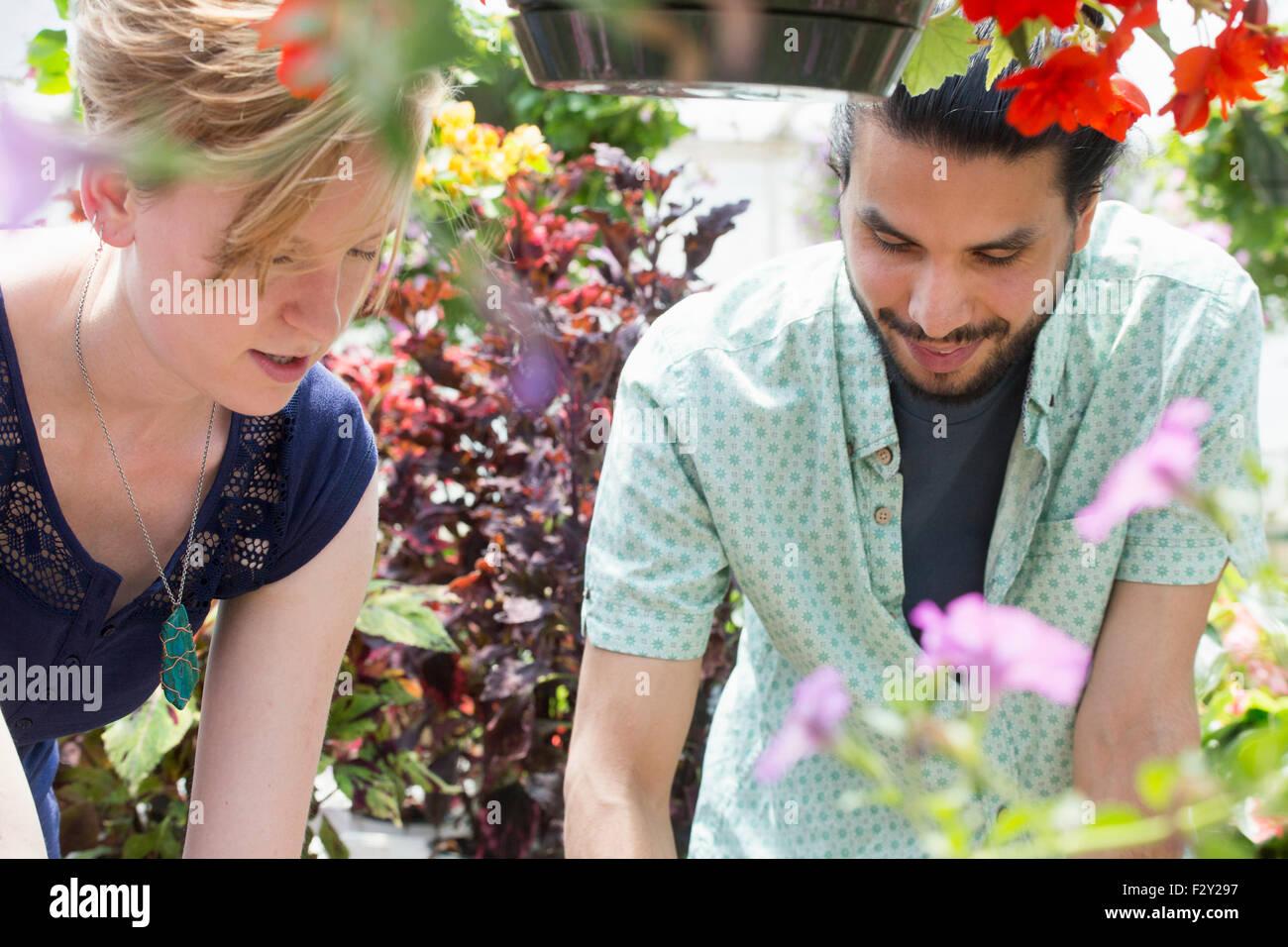 Ein Mann und eine Frau in einem Garten-Center, beide auf der Suche nach unten. Stockbild