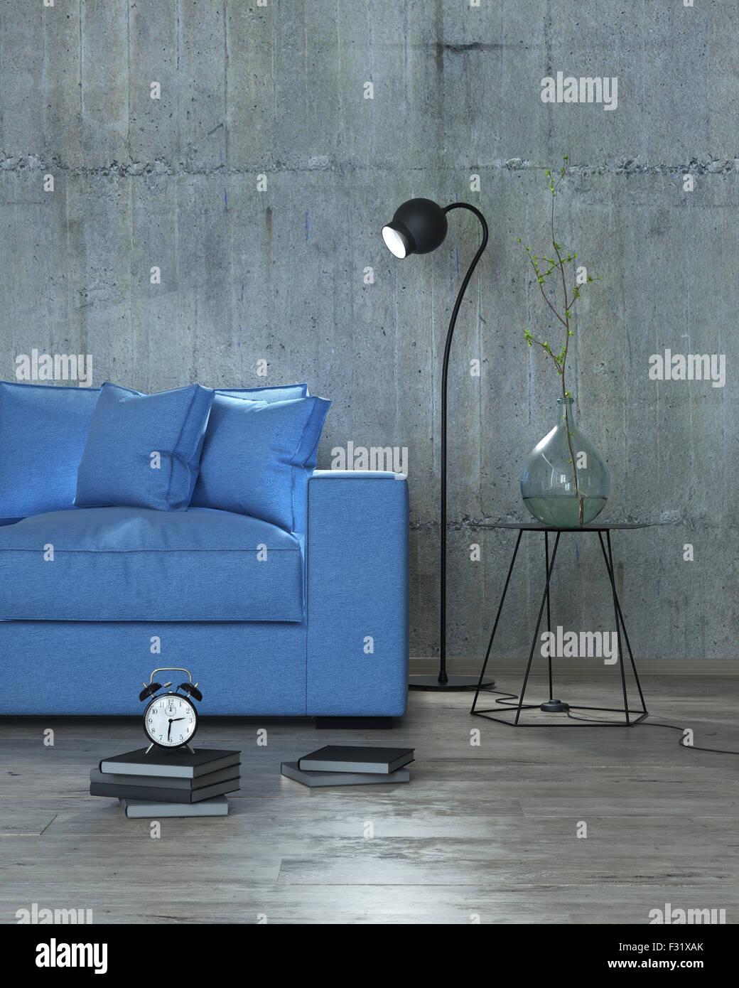modernes Interieur mit Sofa Hintergrund, 3D blau Stockbild