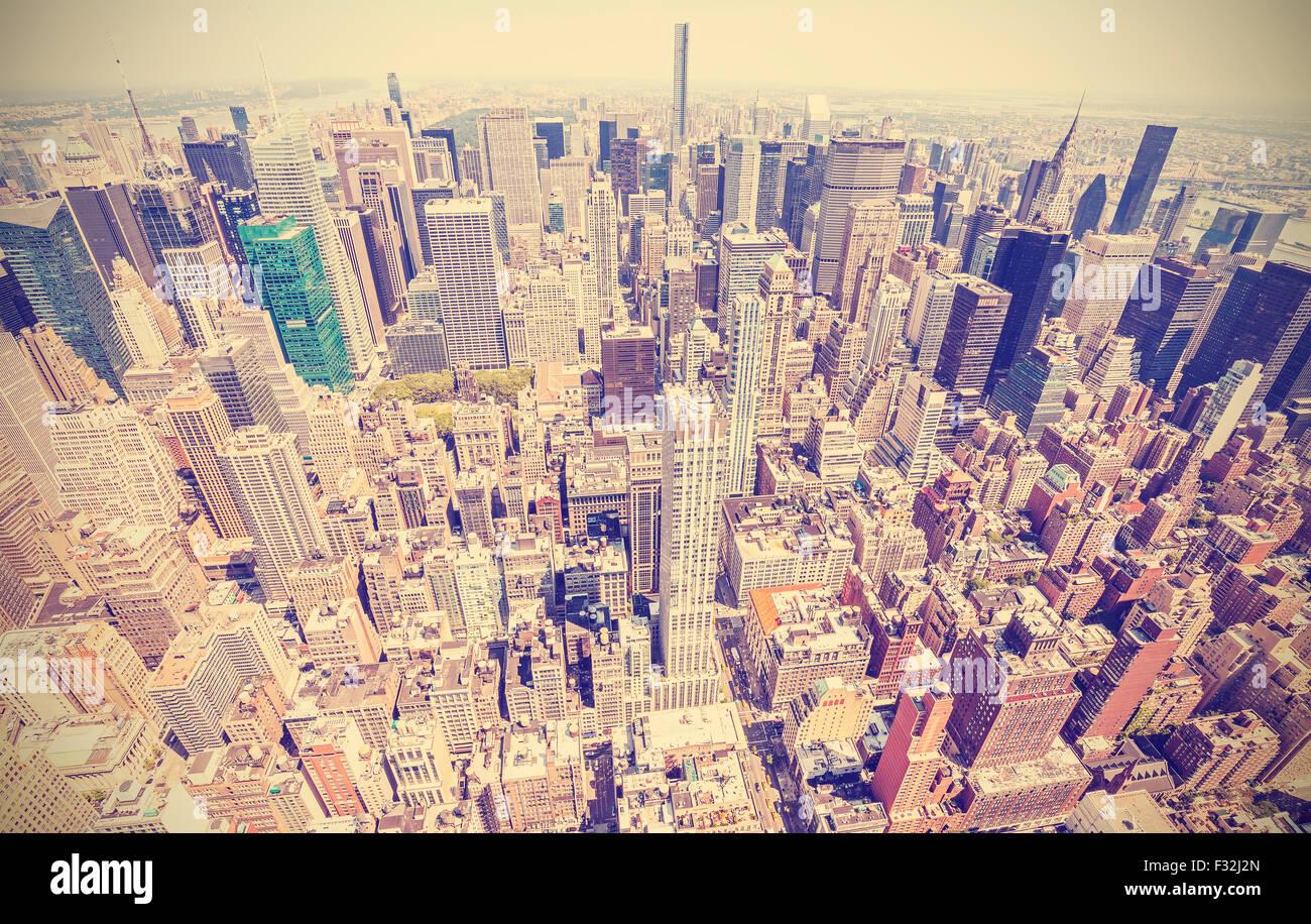 Retro stilisierte Luftaufnahme von Manhattan, New York City, USA. Stockbild