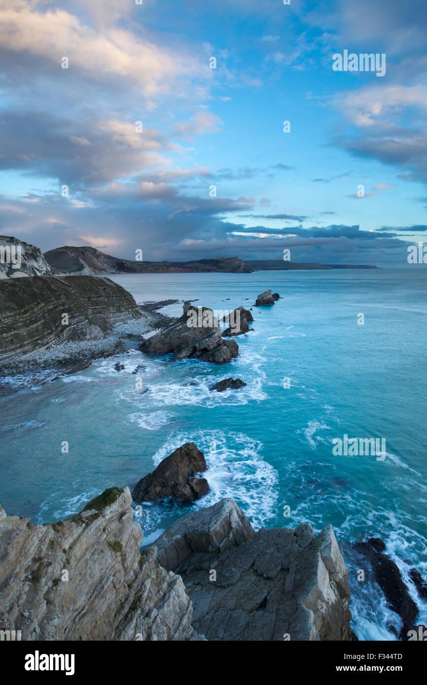 Licht im Winter auf Mupe Bay, Jurassic Coast, Dorset, England Stockbild