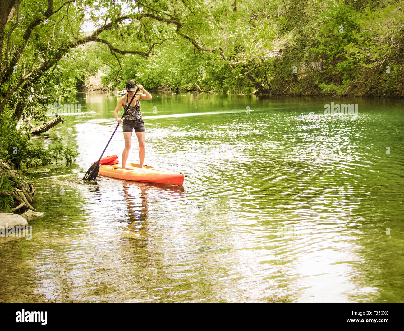 Frau Stand-up Paddle boarding auf Barton Creek, Austin, Texas Stockbild