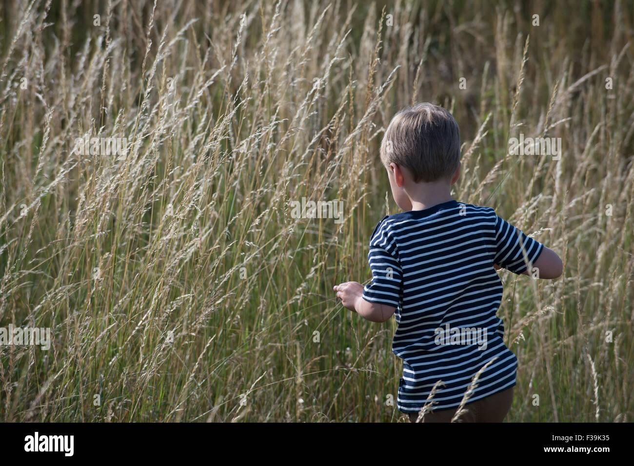 Rückansicht eines jungen zu Fuß langen Gras Stockbild