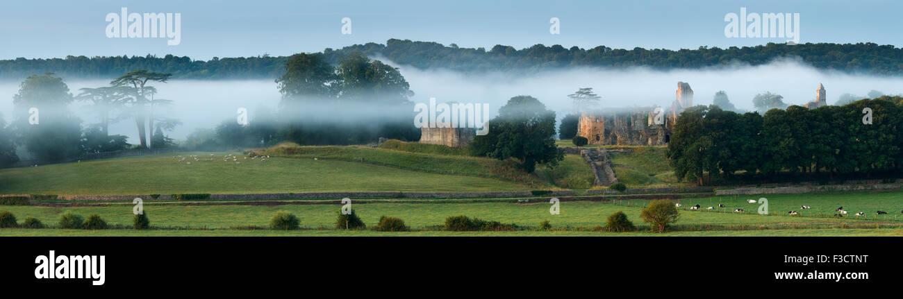 Old Sherborne Castle im Nebel bei Sonnenaufgang, Dorset, England Stockbild