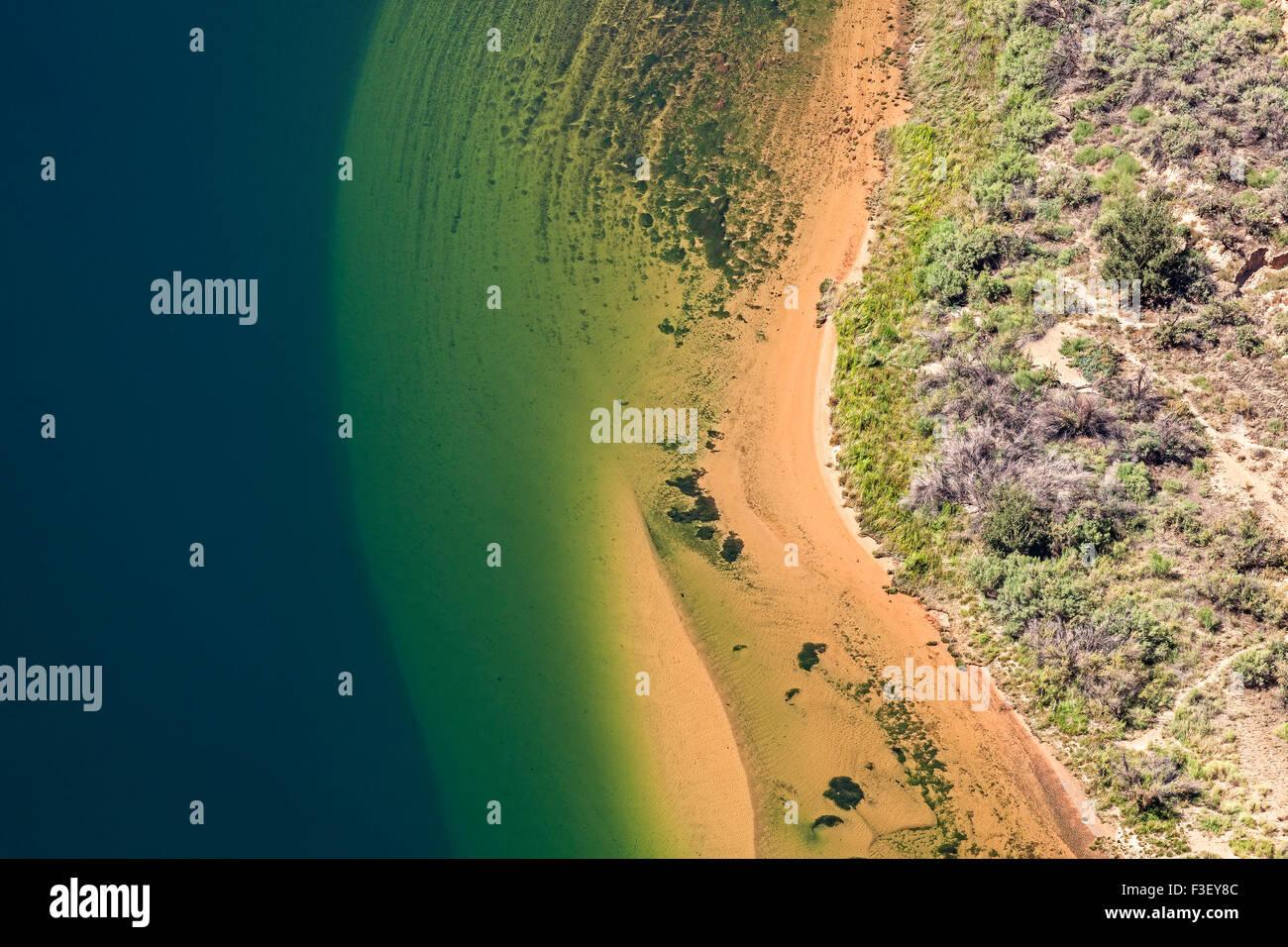 Luftaufnahme des Colorado River, abstrakte natürlichen Hintergrund, Horseshoe Bend in Arizona, USA. Stockbild