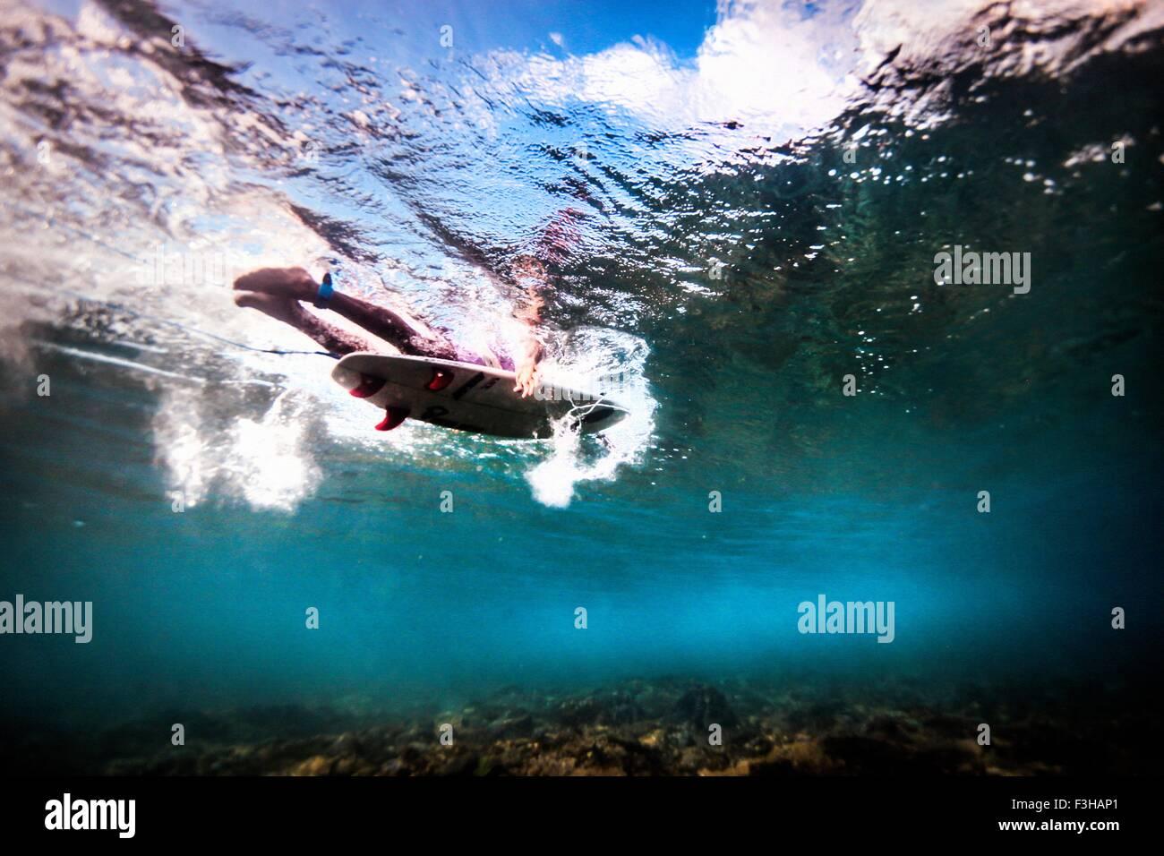 Unterwasser-Blick vom Surfer paddeln durch Meer zu fangen Wellen in Bali, Indonesien Stockbild
