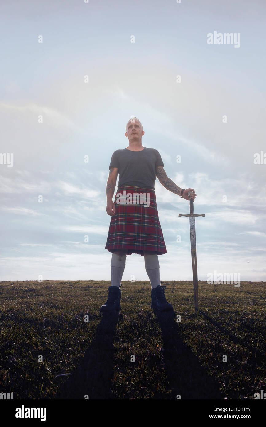 ein Schotte mit seinem Schwert Stockbild