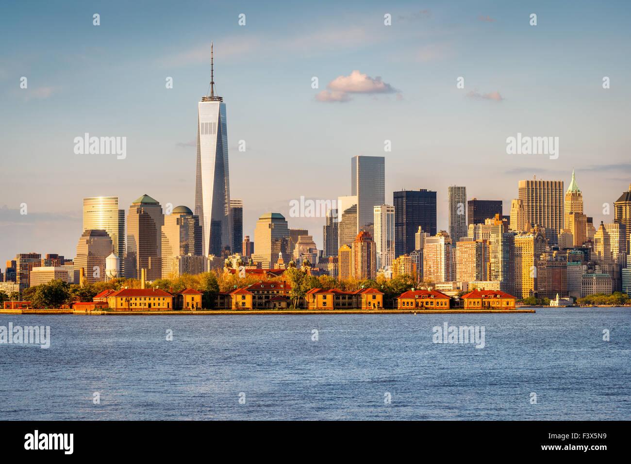 Ellis Island Blick Auf Manhattan