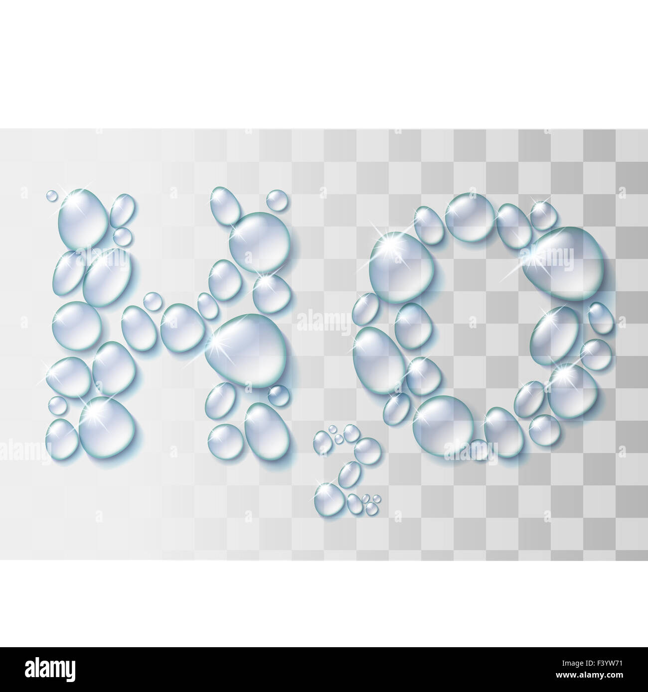 Transparente Wassertropfen H2O Form. Stockbild