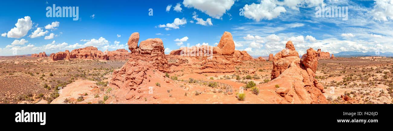 Panorama des Arches National Park, Utah, USA. Stockbild