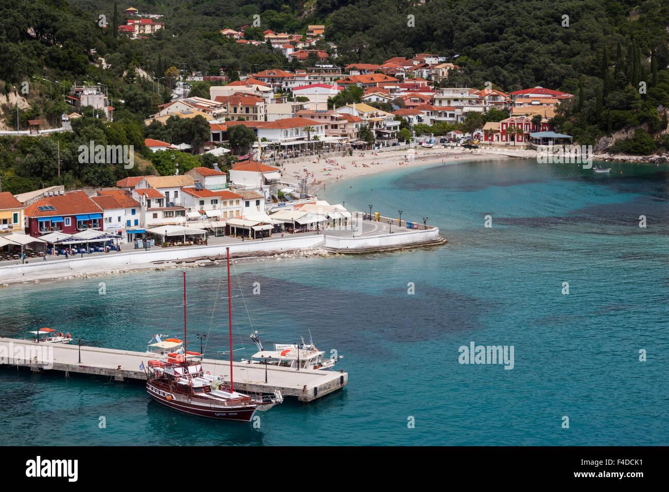 Griechenland, Epirus, Parga, erhöhten Blick auf die Stadt von der venezianischen Burg Stockbild