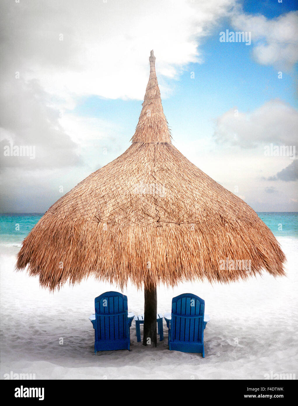 Ein Strand Palapa im Maroma Spa and Resort. Yucatan, Mexiko Stockbild