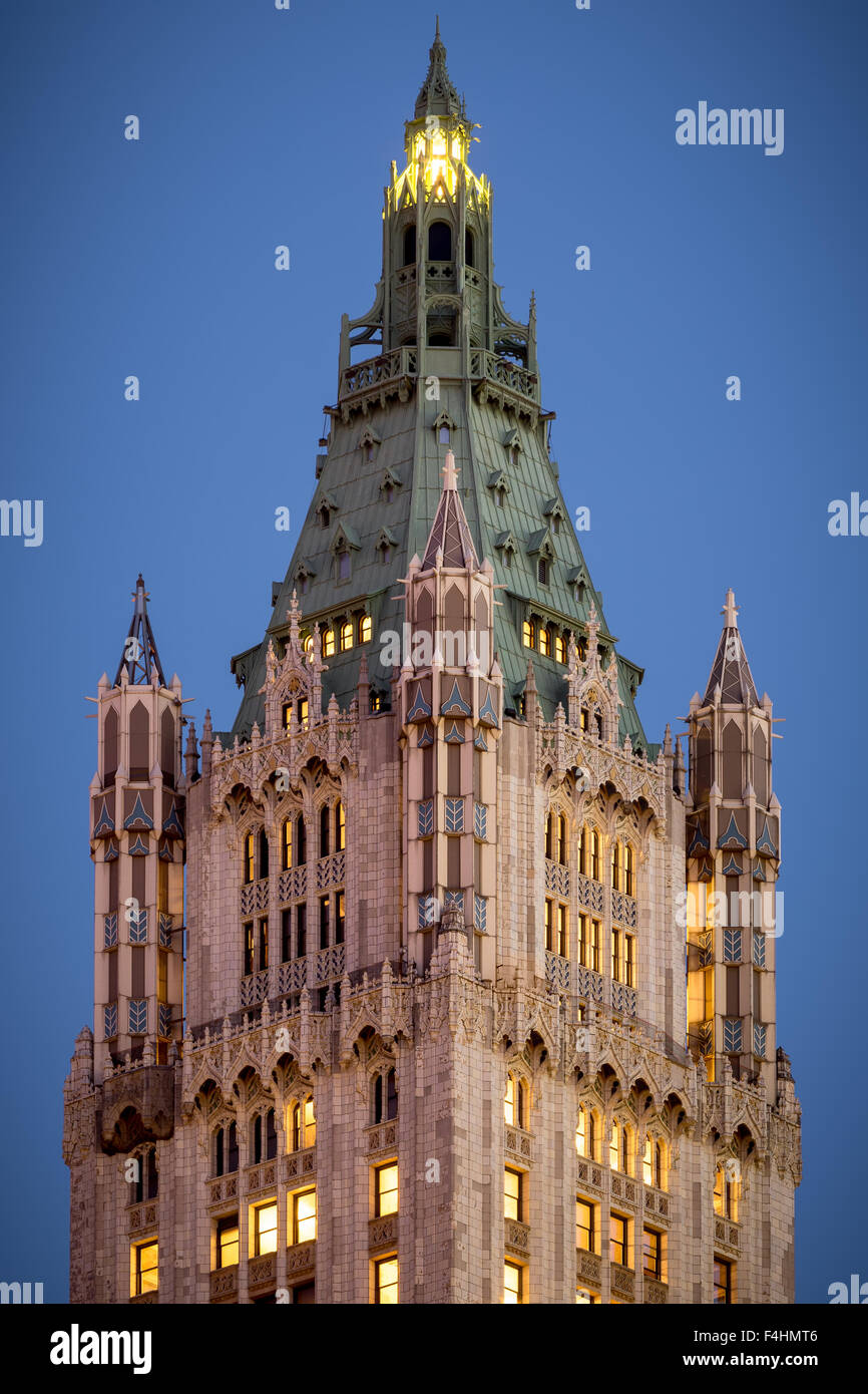 Nahaufnahme von der Turmspitze der Neo-gotischen Woolworth Building bei Dämmerung, Lower Manhattan, Financial Stockbild