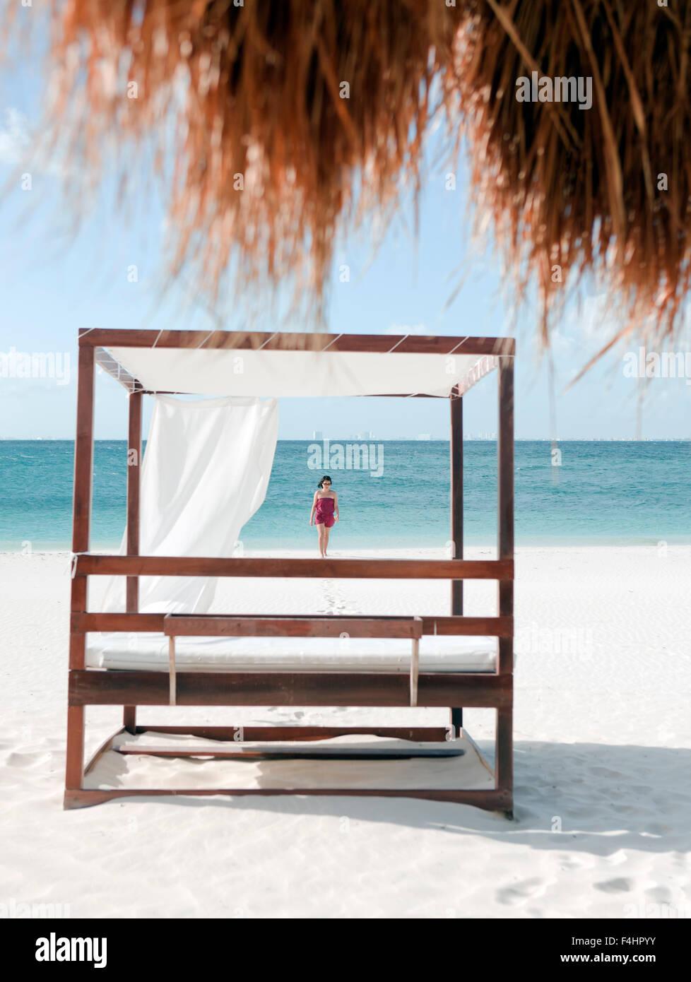 Der Strand auf der Isla Mujeres, einer Insel vor Cancún, Quintana Roo, Mexiko. Stockbild