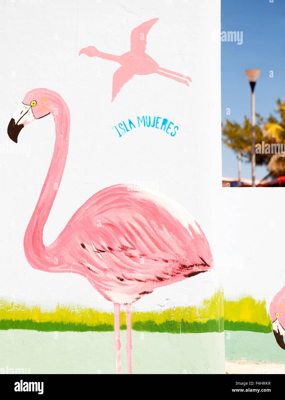 Eine bunte Wandgemälde in der Nähe von dem Zocalo (Hauptort Plaza) in Isla Mujeres, Quintana Roo, Mexiko. Stockbild
