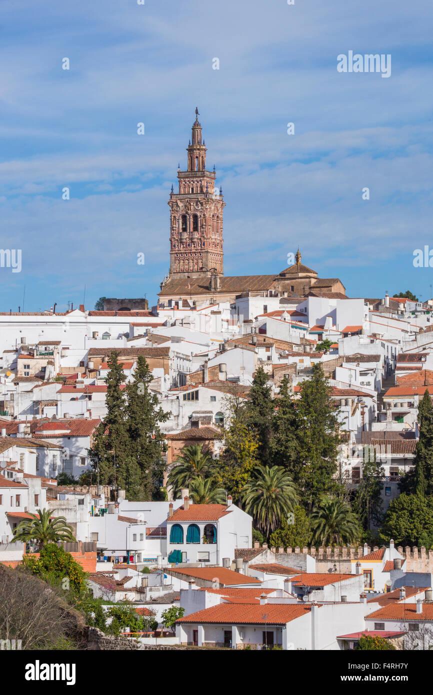 Extremadura, Stadt, Region, Jerez de Los Caballeros, San Miguel, Spanien, Europa, Frühling, Architektur, Glockenturm, Stockbild