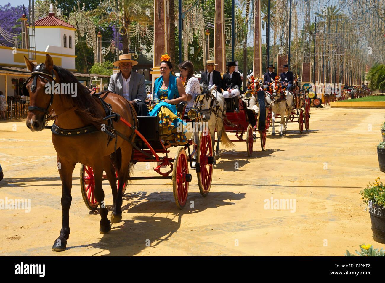 Andalusien, Spanien, Europa, draußen, Tag, Jerez De La Frontera, Costa De La Luz, Feria del Caballo, Tradition, Stockbild