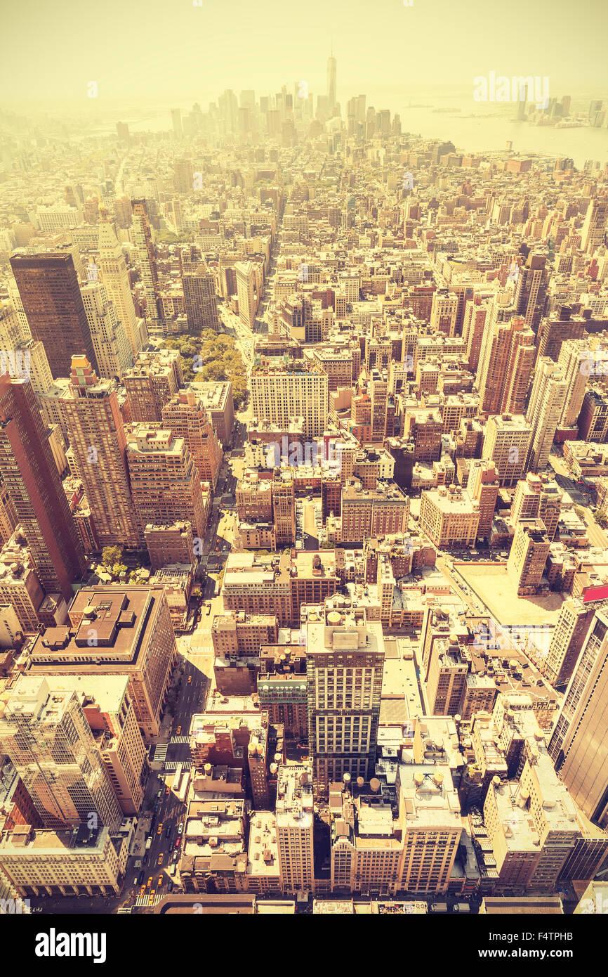 Retro getönten Luftaufnahme von Manhattan, New York City, USA. Stockbild