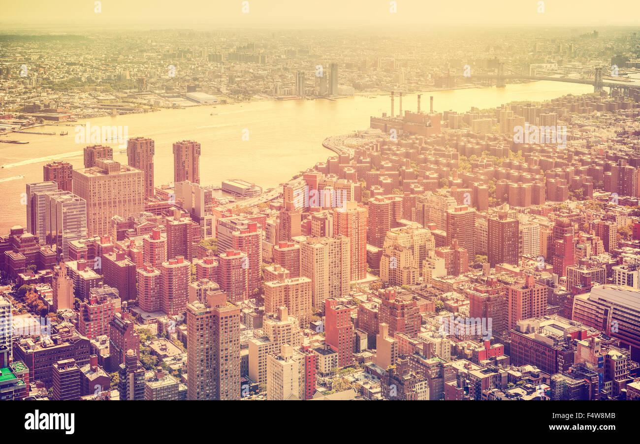 Retro getönten Luftaufnahme von New York City, USA. Stockbild