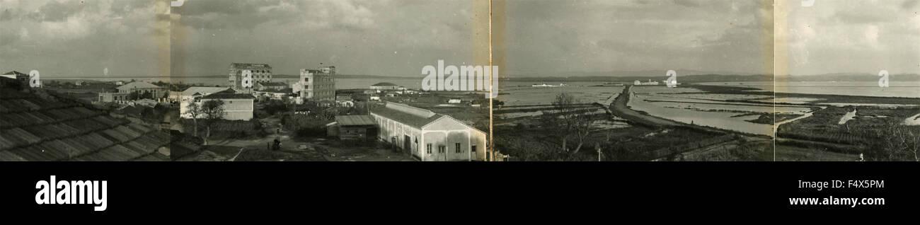 Panorama-Fotografie mit der Technologie der 30er Jahre, am Meer, Italien Stockbild