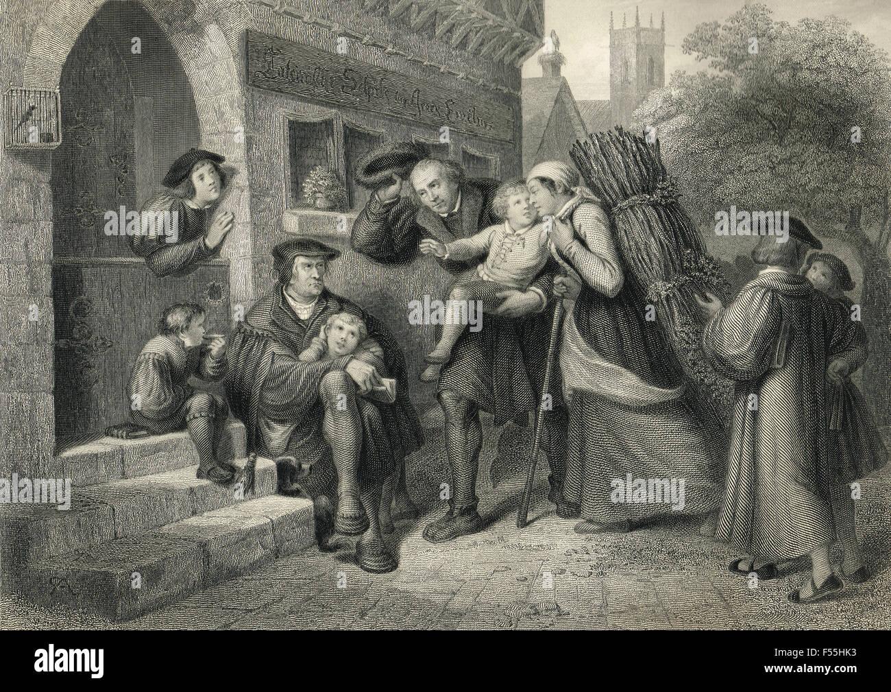 Luther geht lateinische Schule, Mansfeld, Deutschland, 1488-1497 Stockbild