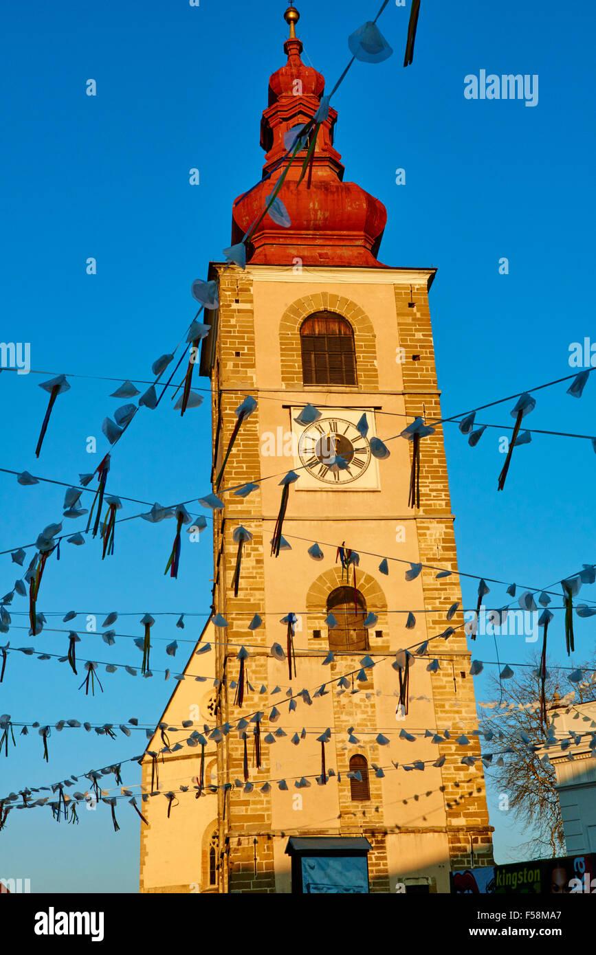 Stadt an den Ufern der Drau, der Stadtturm, Ptuj, untere Steiermark, Slowenien Stockbild