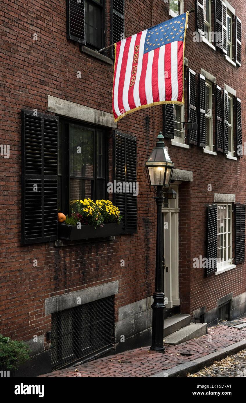 Historische Straße in der Beacon Hill, Boston, Massachusetts, USA Stockbild