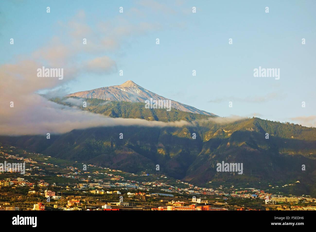 Pico del Teide und das Orotavatal, Teneriffa, Kanarische Inseln, Spanien, Atlantik, Europa Stockfoto
