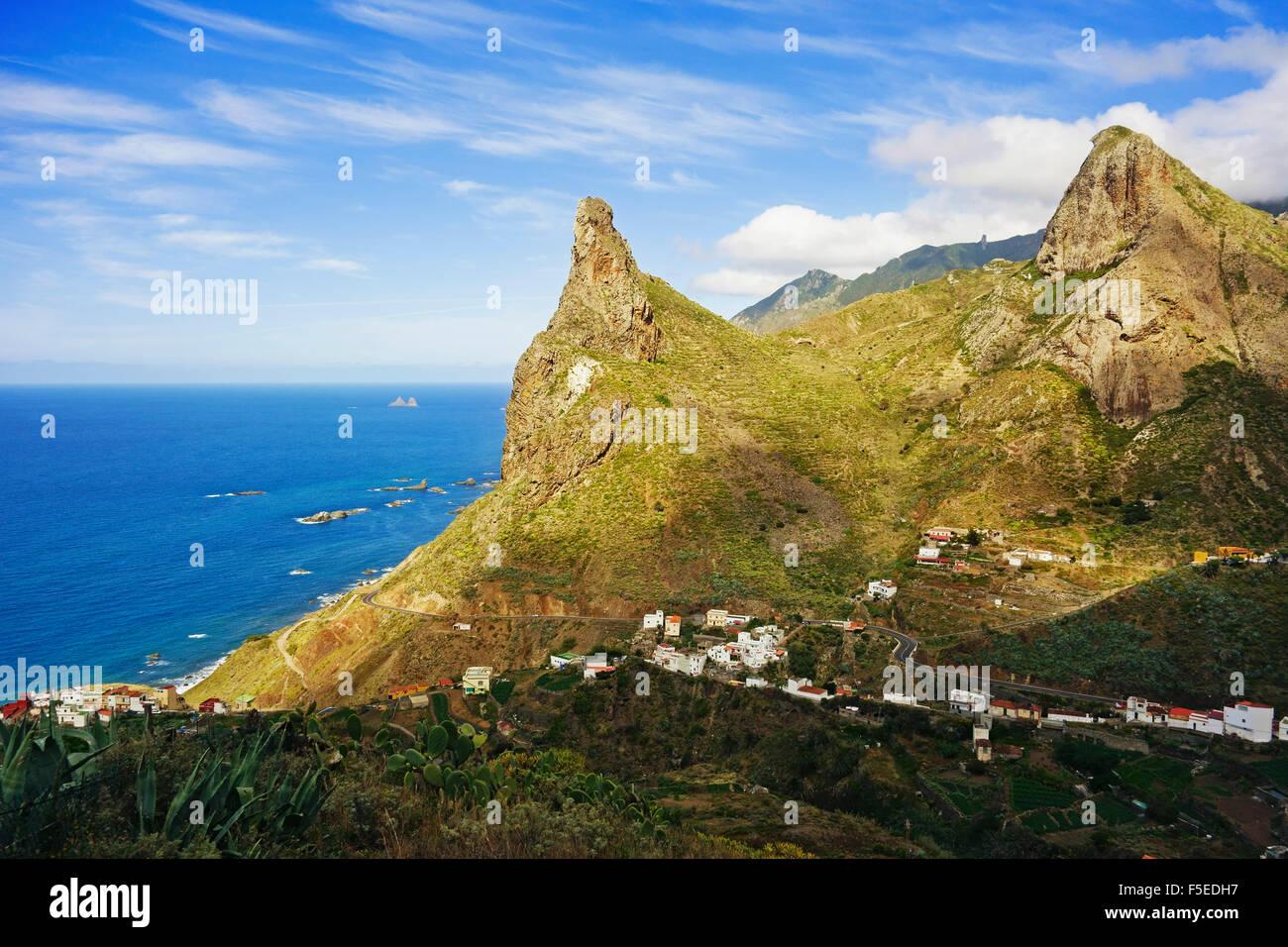 Taganana Dorf, Anaga-Gebirge, Teneriffa, Kanarische Inseln, Spanien, Atlantik, Europa Stockbild