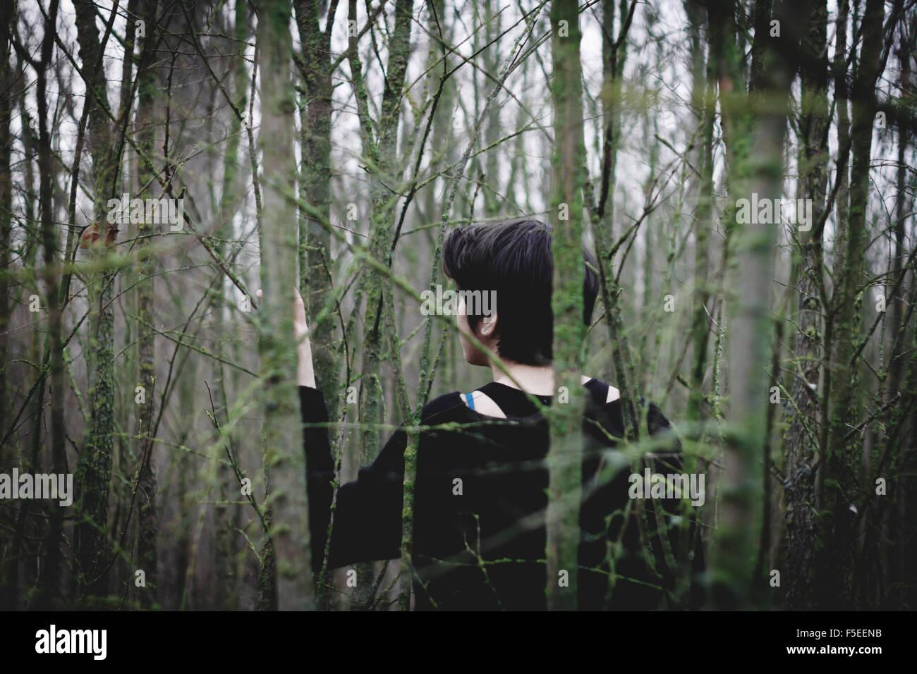 Rückansicht einer Frau im Wald verloren Stockbild