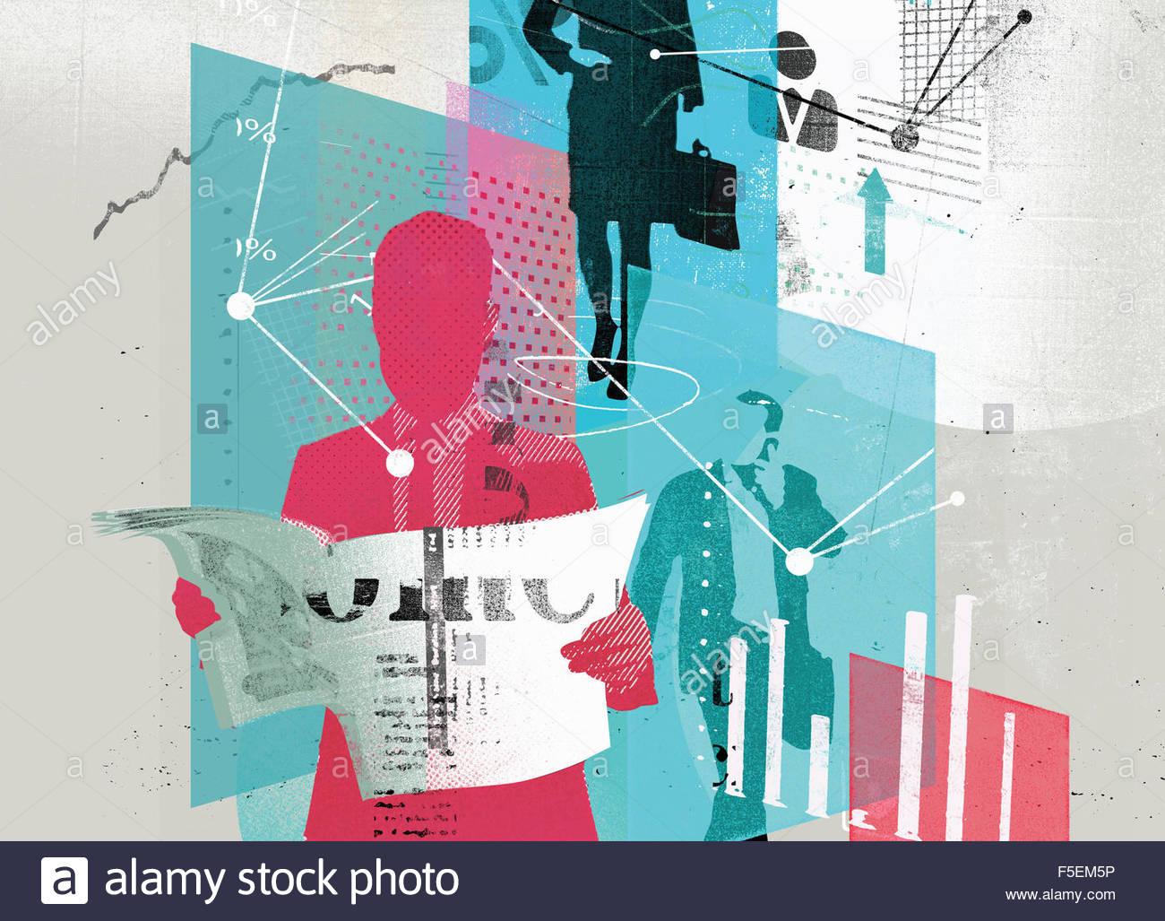 Collage von Geschäftsleuten, Grafiken, Daten und Verbindungen Stockbild