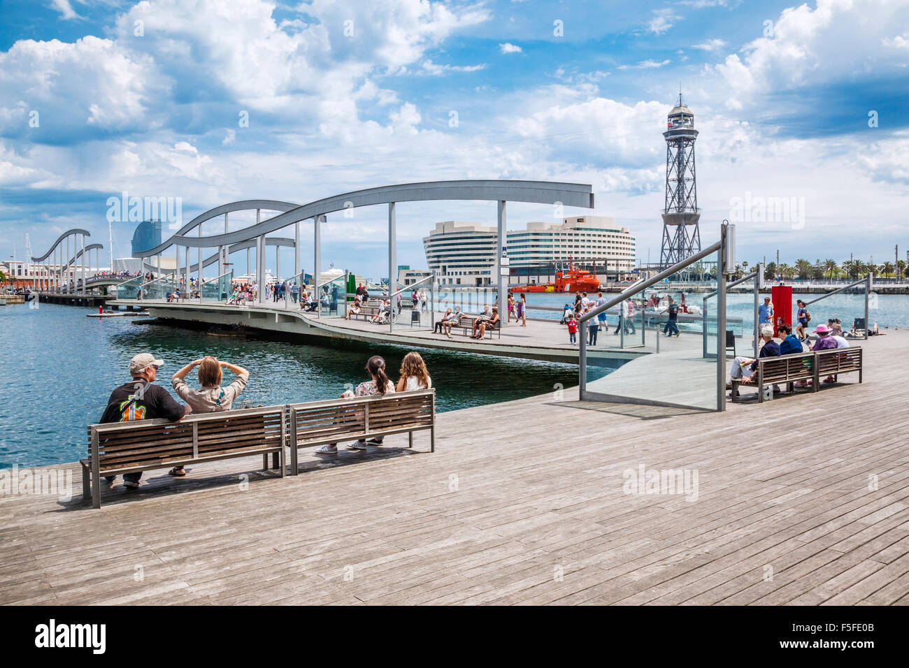 Spanien, Katatonie, Barcelona, Port Vell, Rambla del Mar, Stockbild
