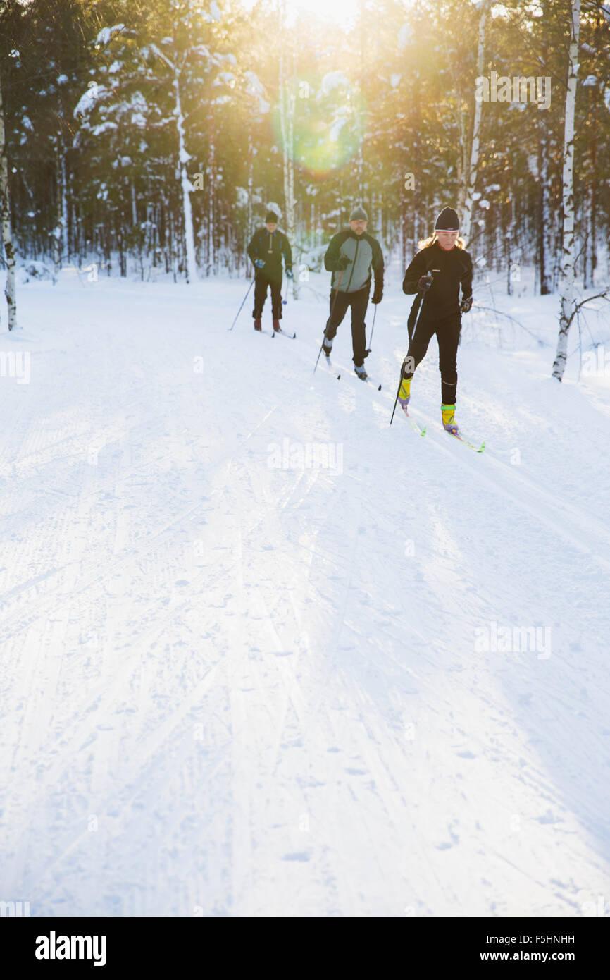 Schweden, Skifahrer im Freien im winter Stockbild