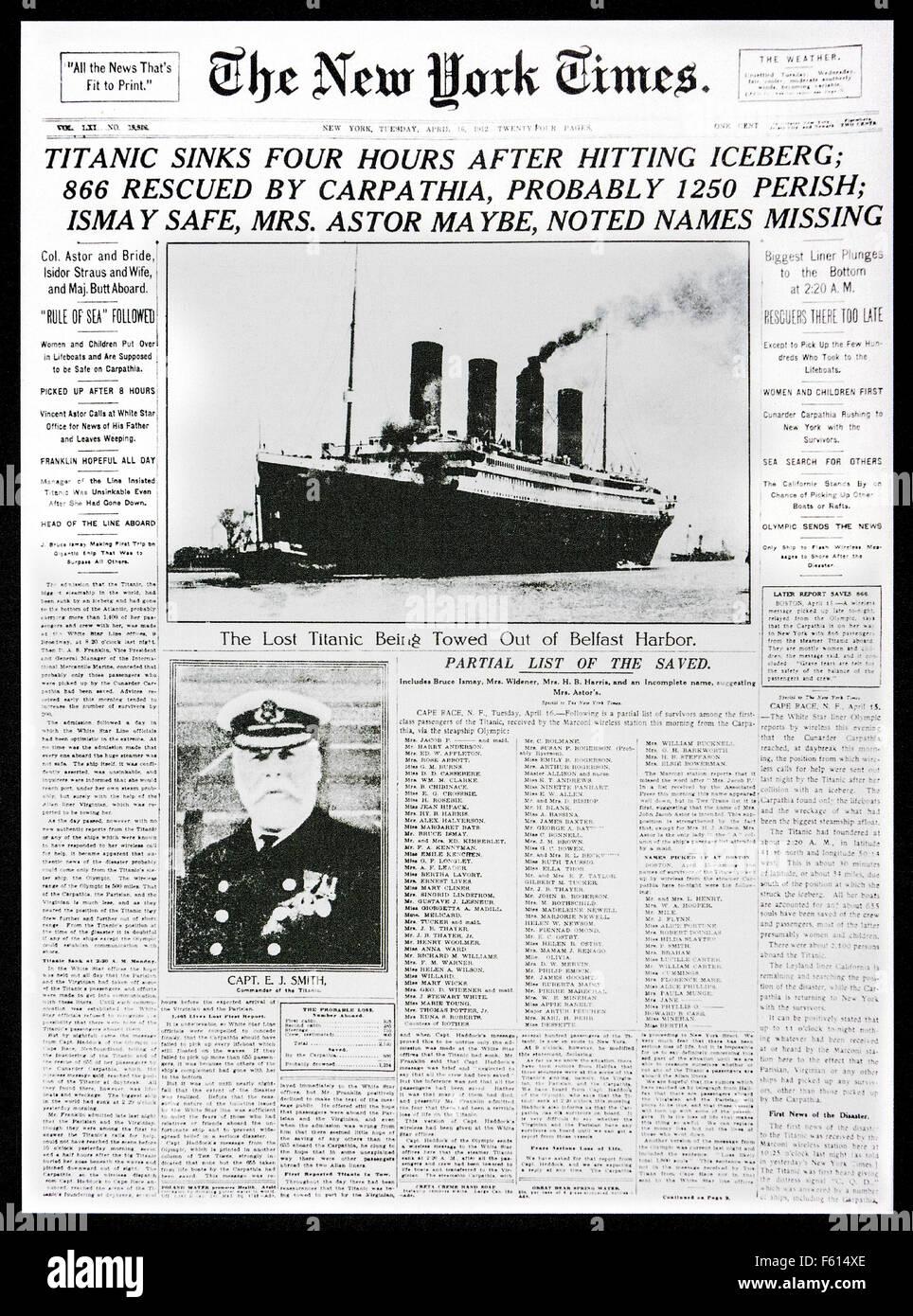 1912 Vorderseitenachrichten der The New York Times berichtet, der Untergang der Titanic nach der Kollision mit Eisberg Stockbild