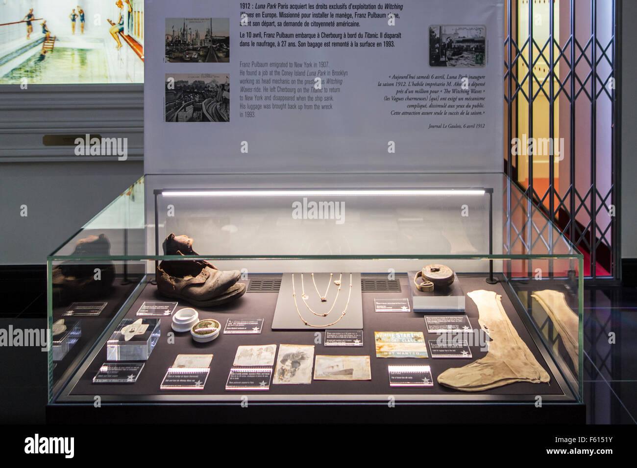 Ergebnisse brachte von der Titanic Wrack in der Cité De La Mer, Schifffahrtsmuseum in Cherbourg, Normandie, Stockbild