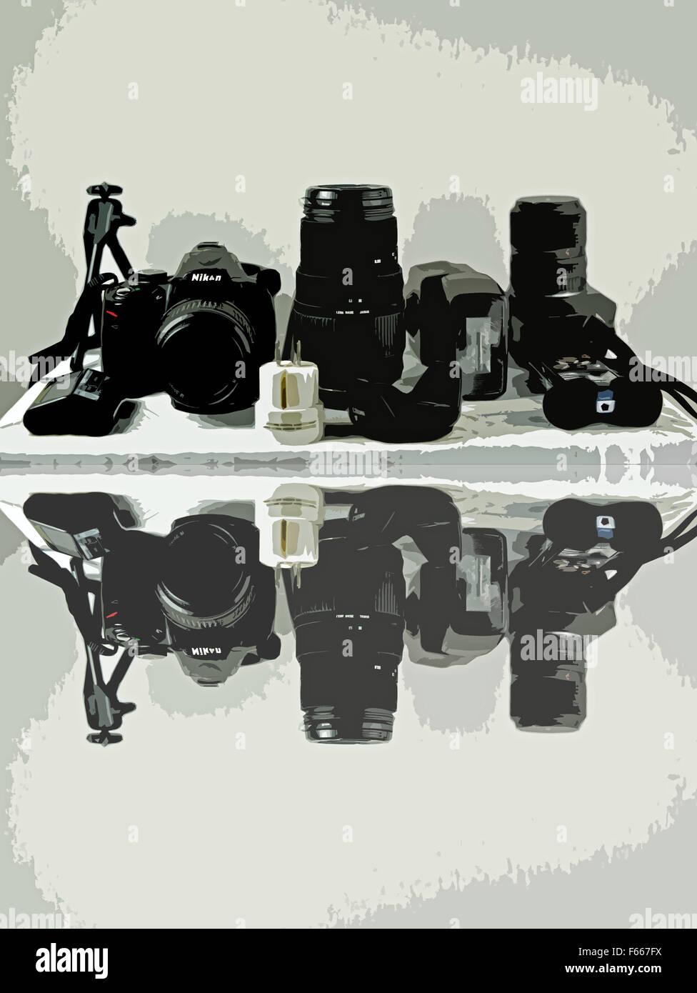 Foto-Ausrüstung der Werkstatt in Studio, Hamburg, Deutschland. Stockbild
