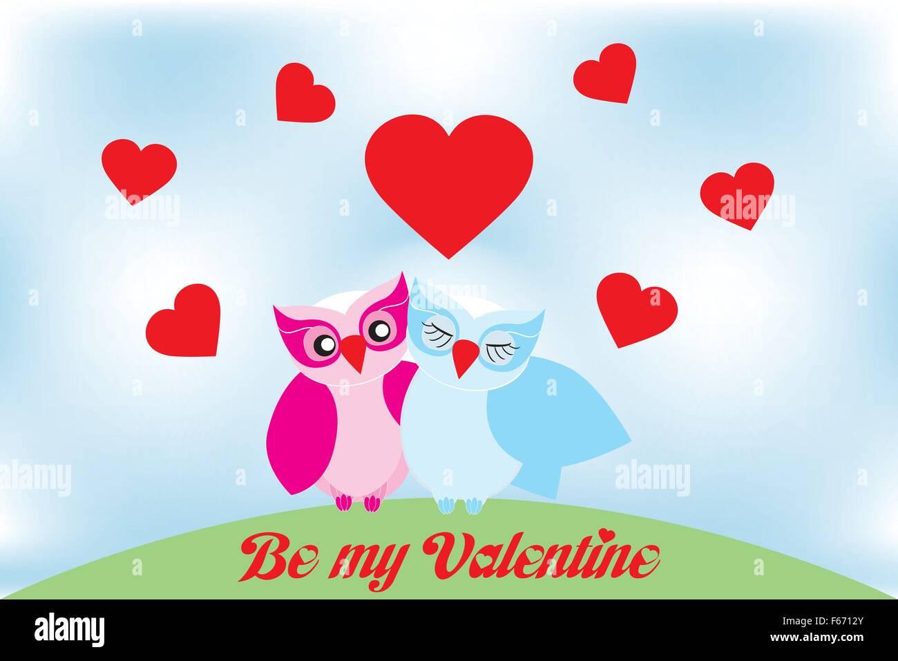 Valentine Tag schöne Eulen Grußkarte und Text \
