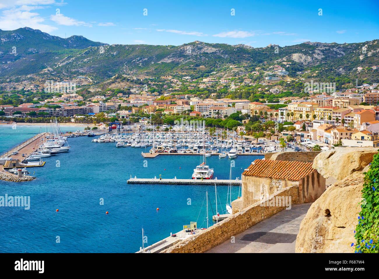 Yachthafen von Calvi, Balagne, Korsika, Frankreich Stockbild