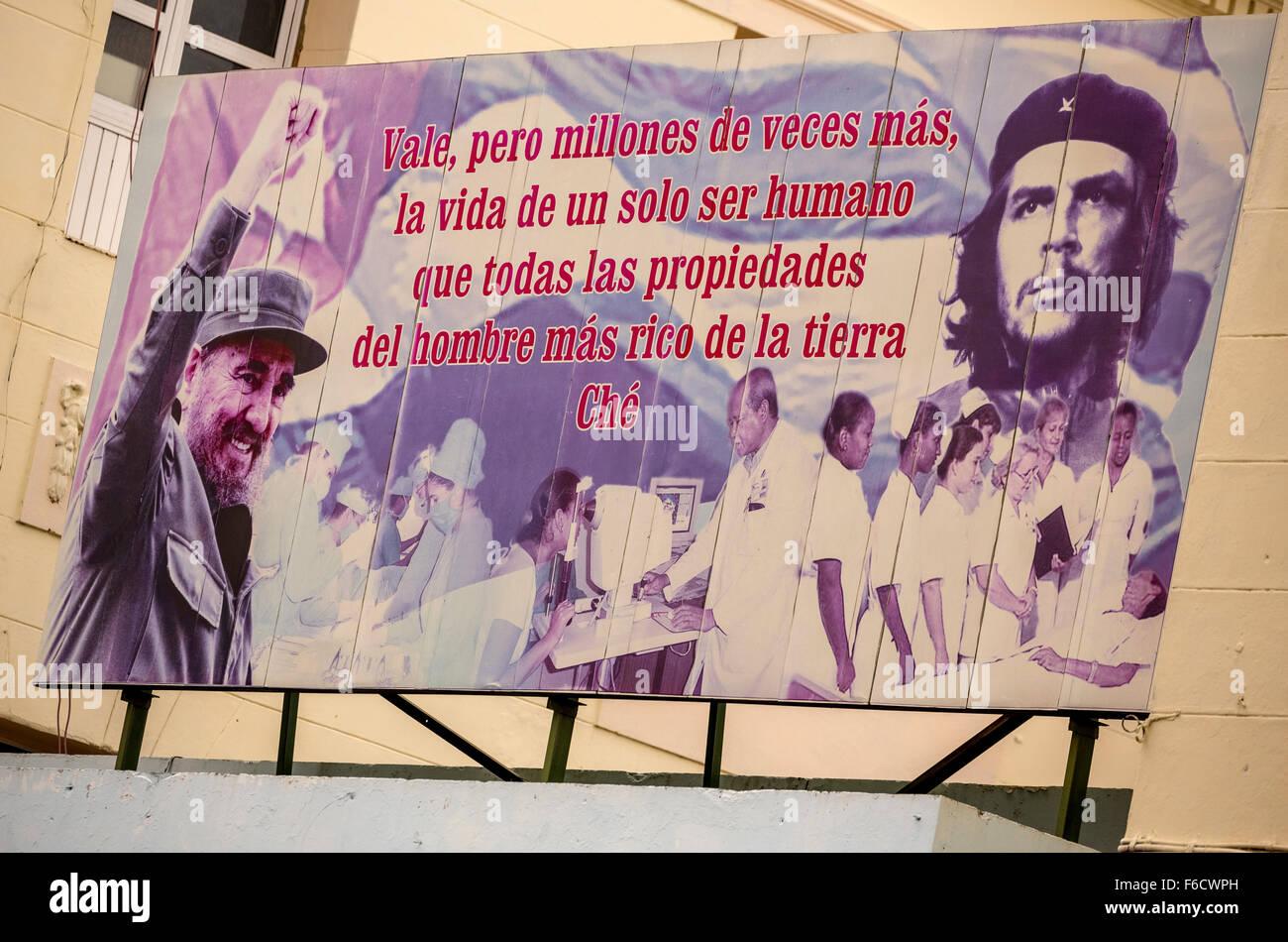 Poster mit Fidel Castro und Che Guevara, Werbeplakat, politischen Plakat, Propagandaplakat, La Habana, Havana, La Stockbild