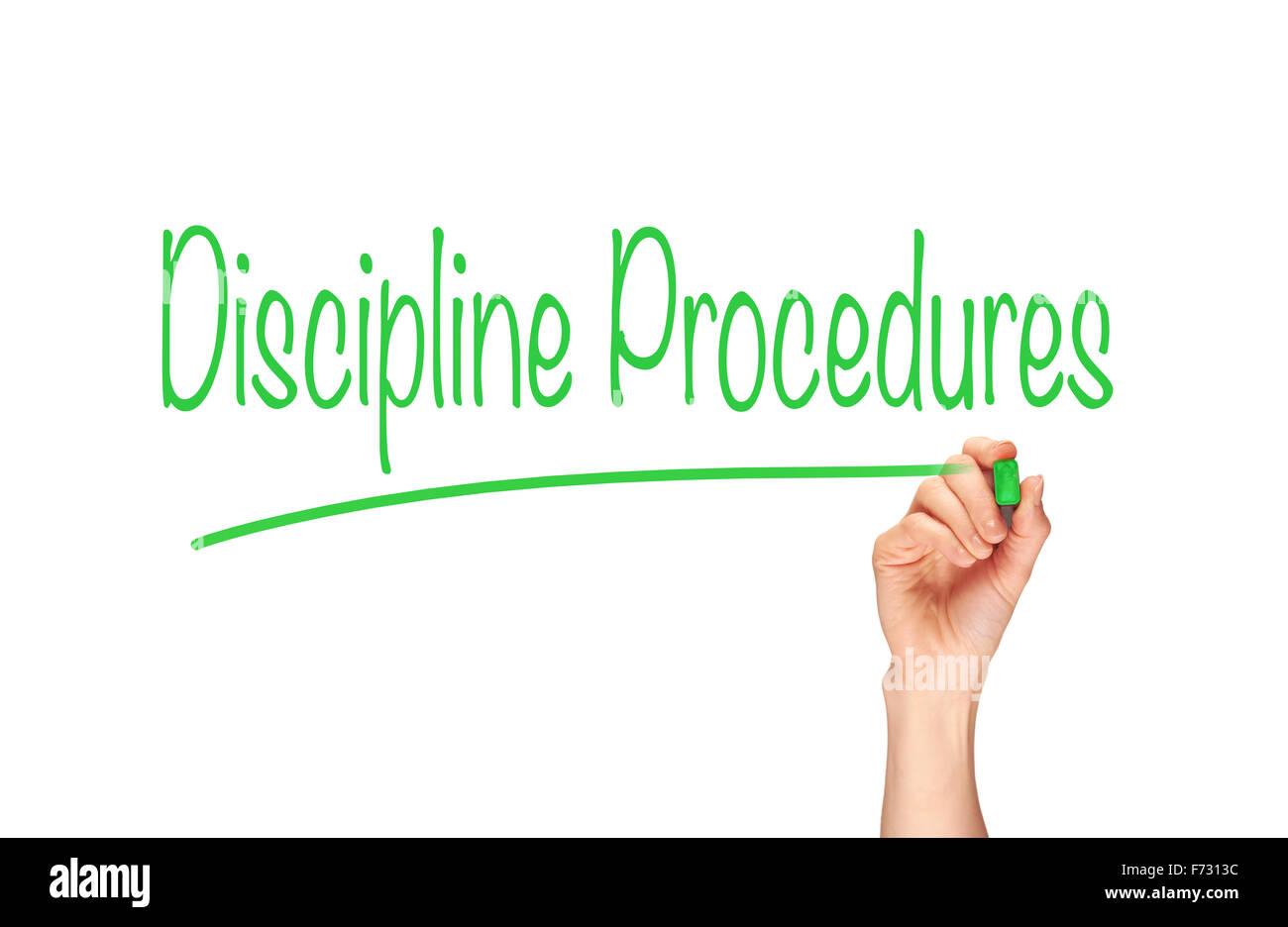 Disziplin Verfahren, Induktion Ausbildung Schlagzeilen Konzept. Stockbild